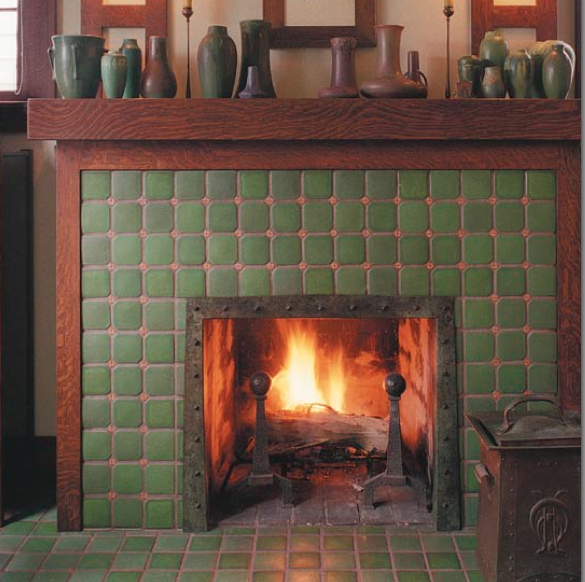 Craftsman Fireplace Tile I Like The Wood Trim Around The