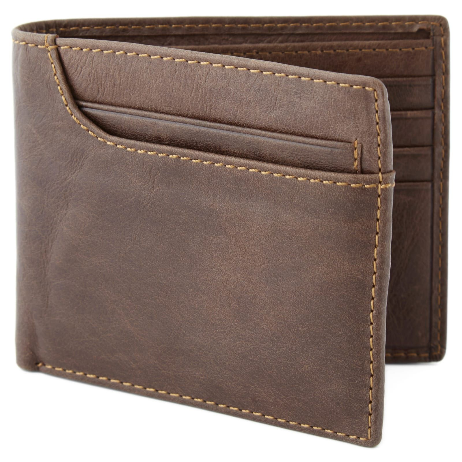 Asymmetrical Brown Bi-Fold Leather Wallet | In stock! | Collin Rowe #leatherwallets