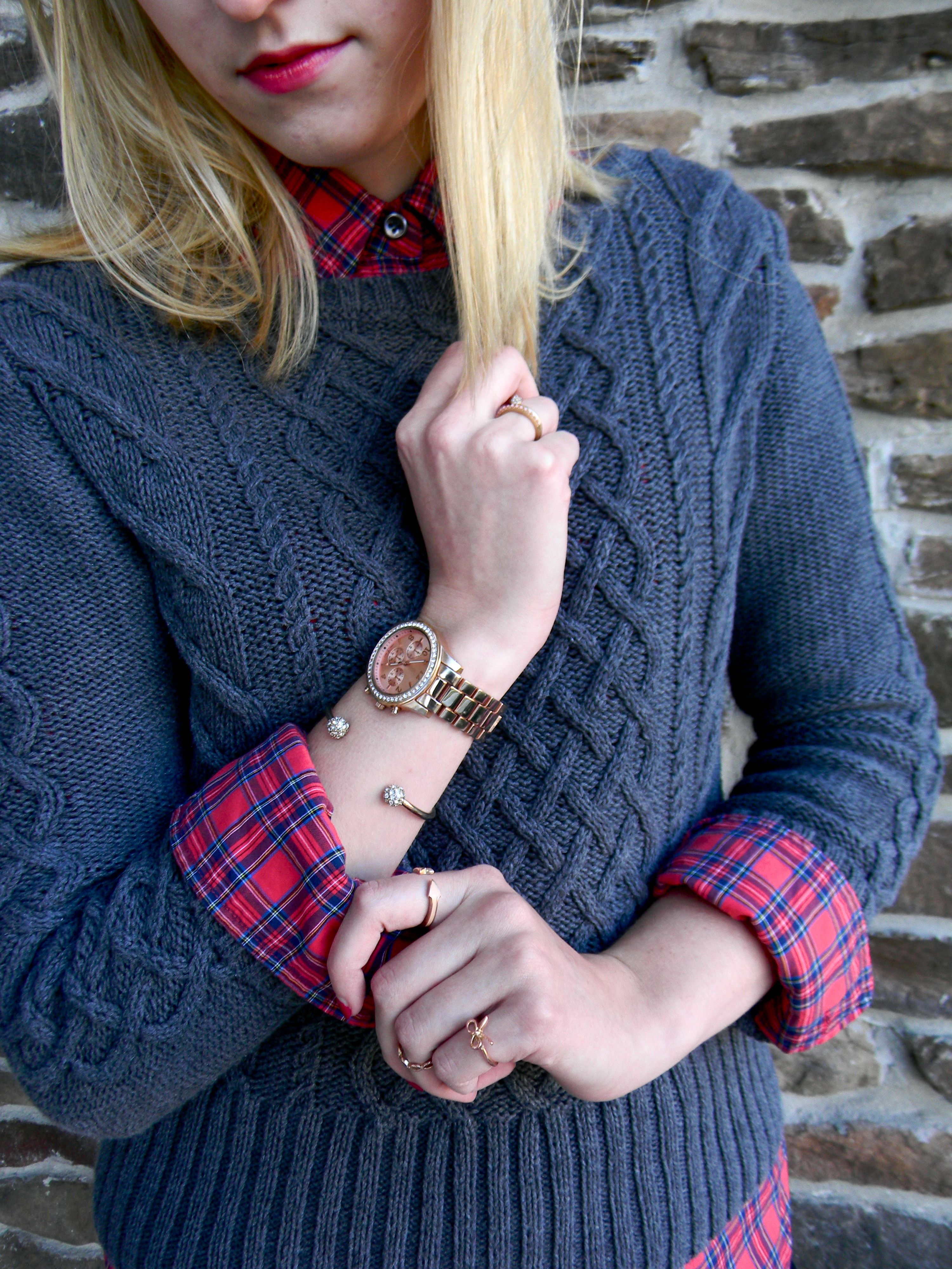 cable sweater + plaid shirt