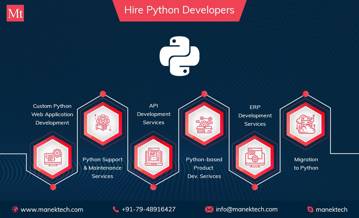 Hire a dedicated team of python developers from manektech