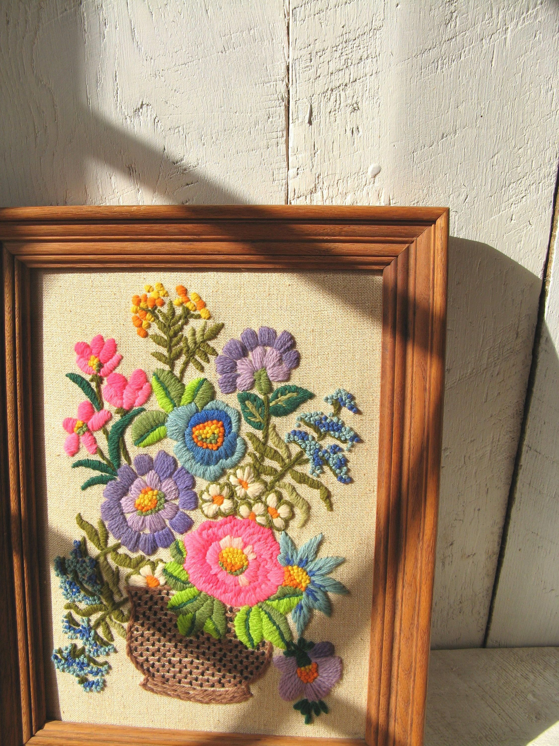 Large Framed Vintage Bright Floral Embroidery Wall Art 1970s Retro Home Decor Ace High By Acehighvintage On Ets Embroidery Wall Art Retro Home Decor Retro Home