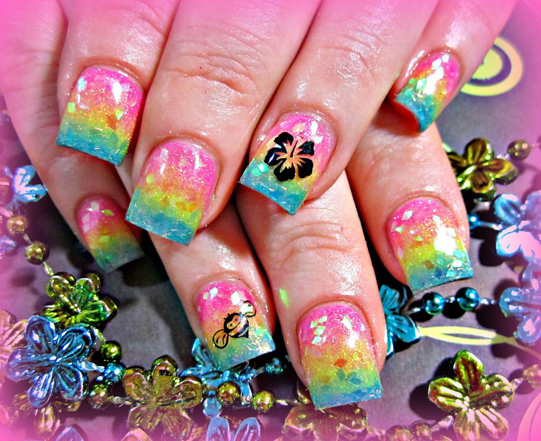 Rainbow fade acrylic nails   Nails   Pinterest