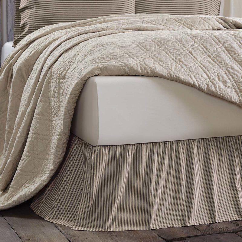 Ding Stripe Bed Skirt Farmhouse, Khaki Bed Skirt Queen