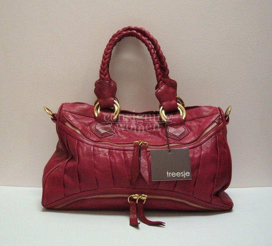 Treesje Fuchsia Leather Asher Satchel New With Tags Handbags Online Sold