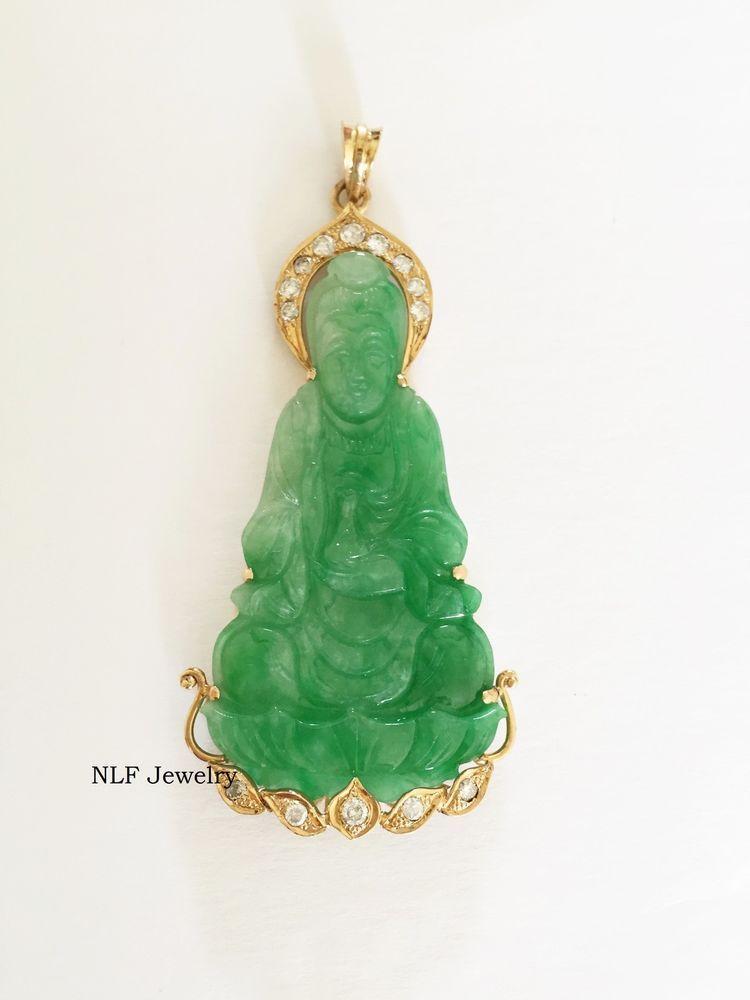 beautiful 14k yellow gold kwan yin buddha green jade