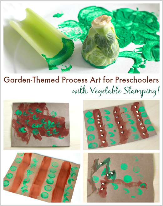 garden themed process art for preschoolers with vegetable stamping