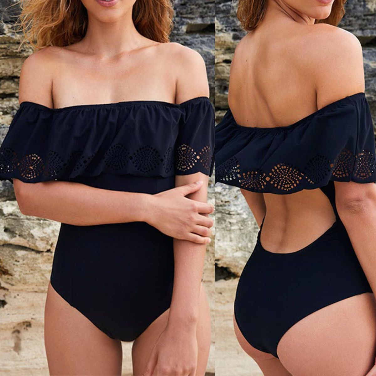 48fb6447ab Women One-Piece Swimsuit Bandage Bikini Push-up Padded Backless Bathing  Swimwear