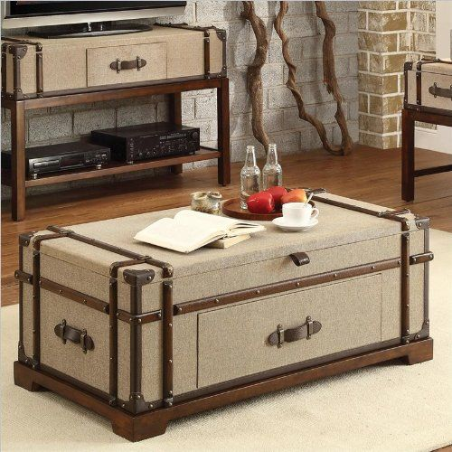 Riverside Furniture Bon Voyage Steamer Trunk Lift Top Tail Table In Aged Cognac Wood