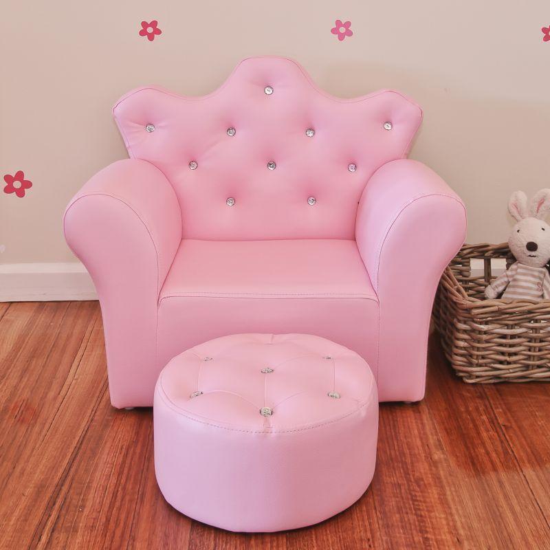 Pink Kids Sofa PVC Leather Princess Crystal Design   Buy Kids Sofas