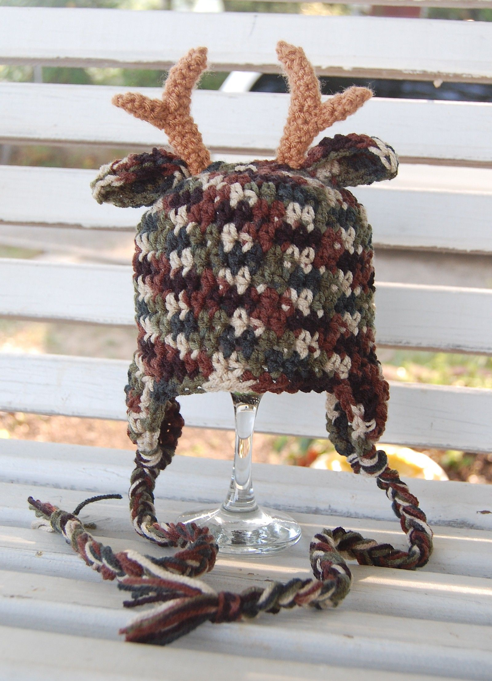 Camo Deer Hat with braids <3 Great photo prop for the hunting family.