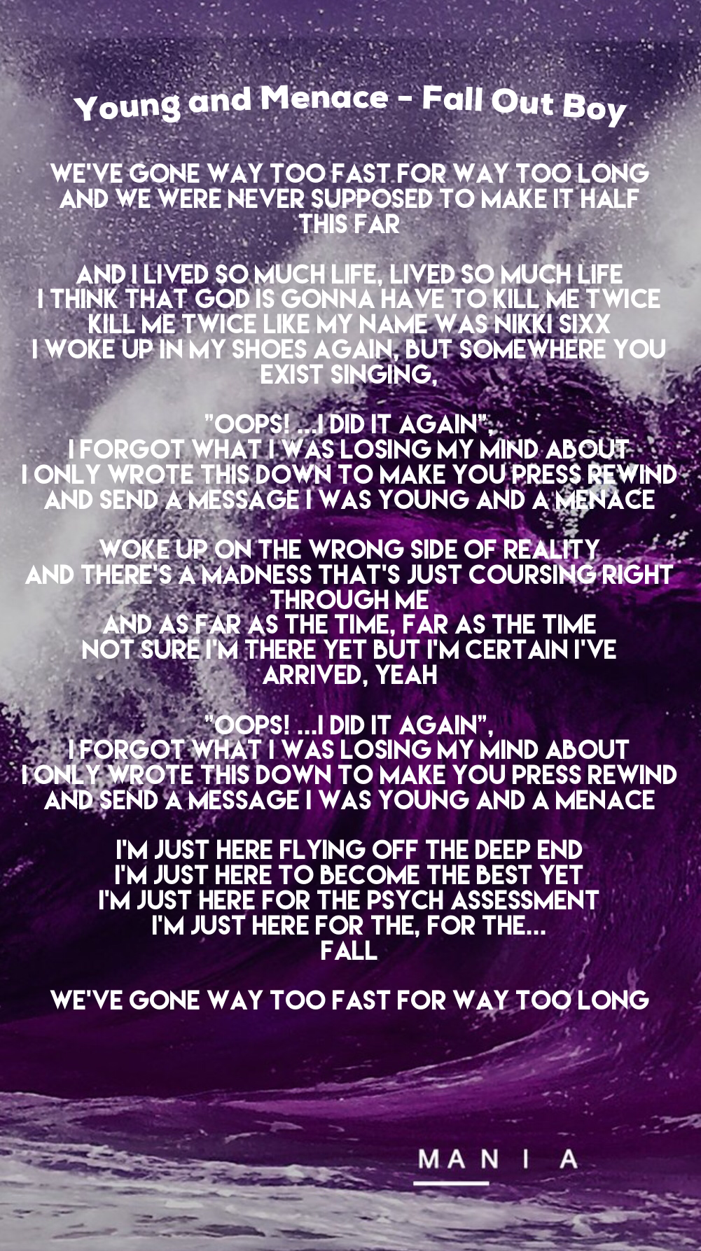 Fall Out Boy Young And Menace M A N I A Lyrics Fall Out Boy Fall Out Boy Wallpaper Wallpaper Iphone Quotes Songs