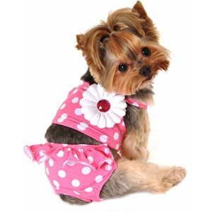 Simply Dog Pink Dot Bikini Swimming Suit Dog Clothes Dog Tutu