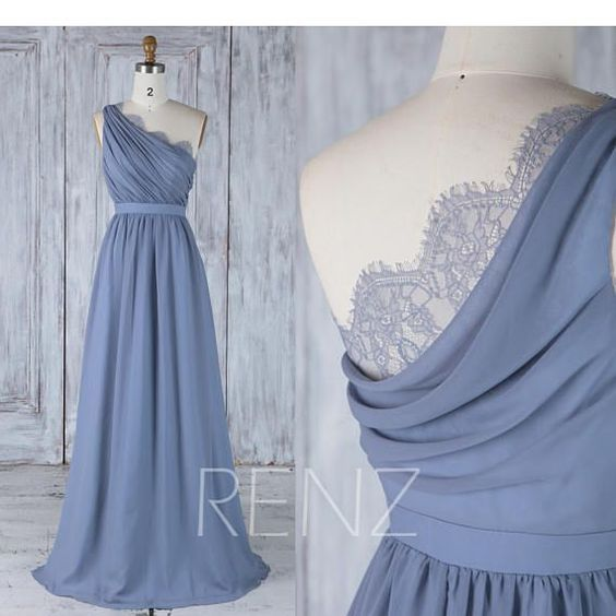 Bridesmaid Dress Steel Blue Long Chiffon Dress Wedding Dress Splice Neck Lace Maxi Dress One Shoulder Draped Back Prom Dress (H502A)