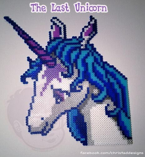 These are pieces are made from Perler beads. This is an original pattern created by Christa D  Measures 12.5 x 10 inches at her widest.  These are made to order so please allow 1 week for shipping.  The Last Unicorn © Peter S. Beagle & Rankin/Bass ITC