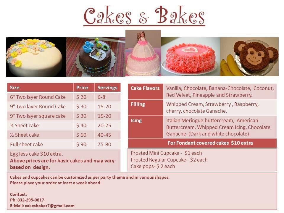 Cakes bakes menu no bake cake cake servings cake flavors