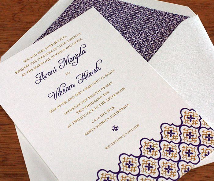 Tile Pattern Violet Gold Ceremony Card With Envelope Liner