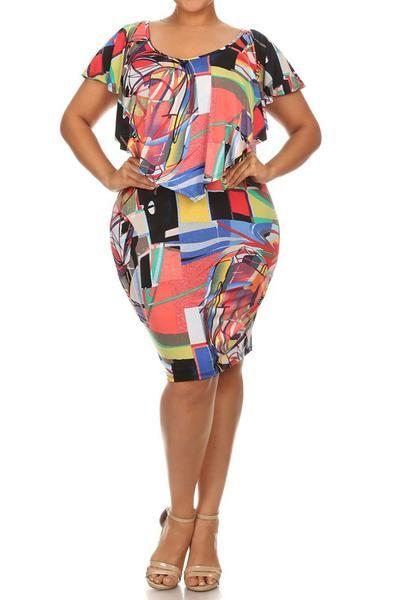 Plus Size Abstract Ruffled Overlay Body-con Dress (Plus Size Fix)