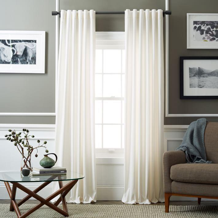 Velvet Pole Pocket Curtain - Ivory Bedrooms