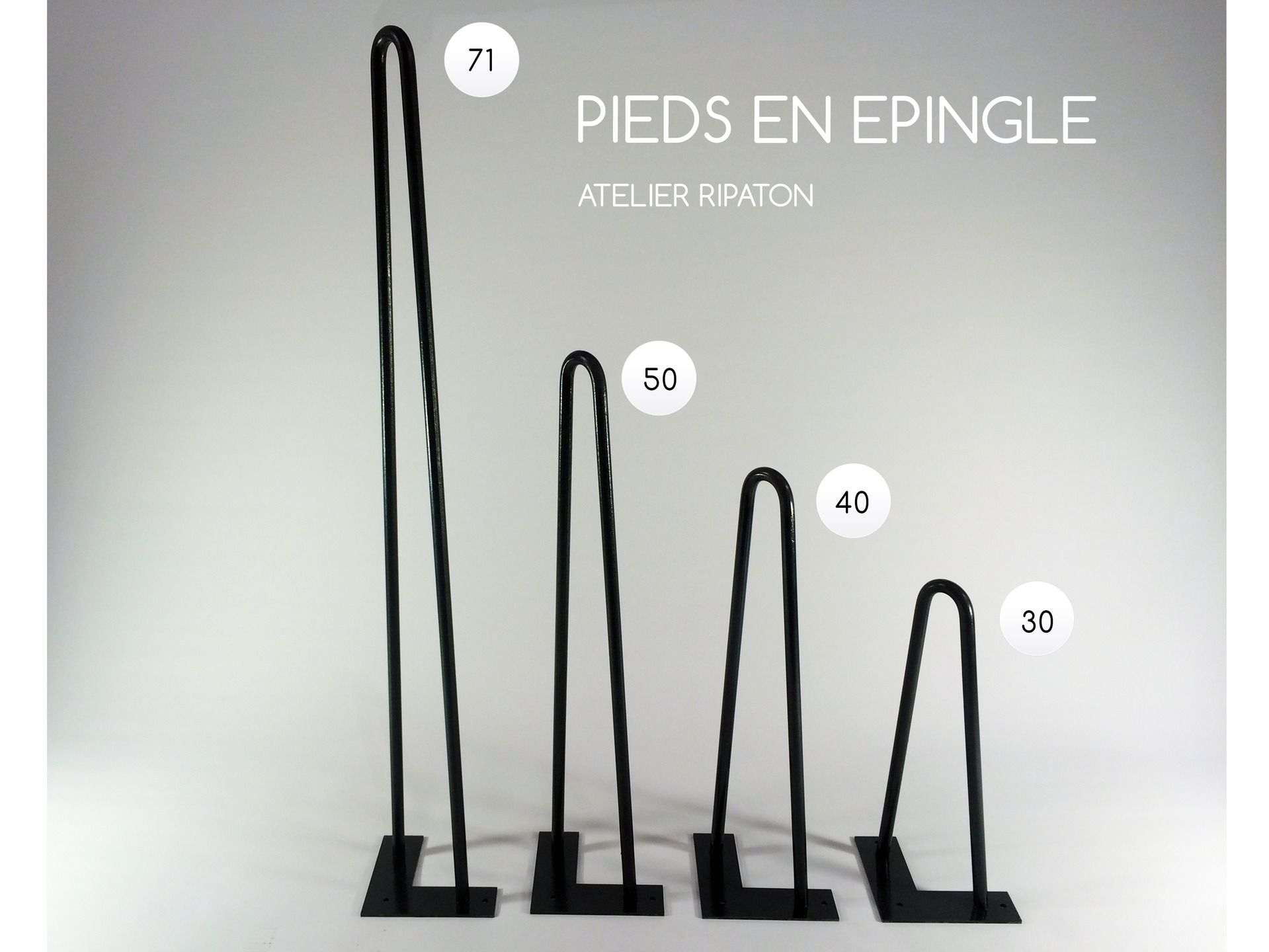 Pied de table en pingle 71 cm brut hairpin legs fait main pi tement de t - Pied de meuble design ...