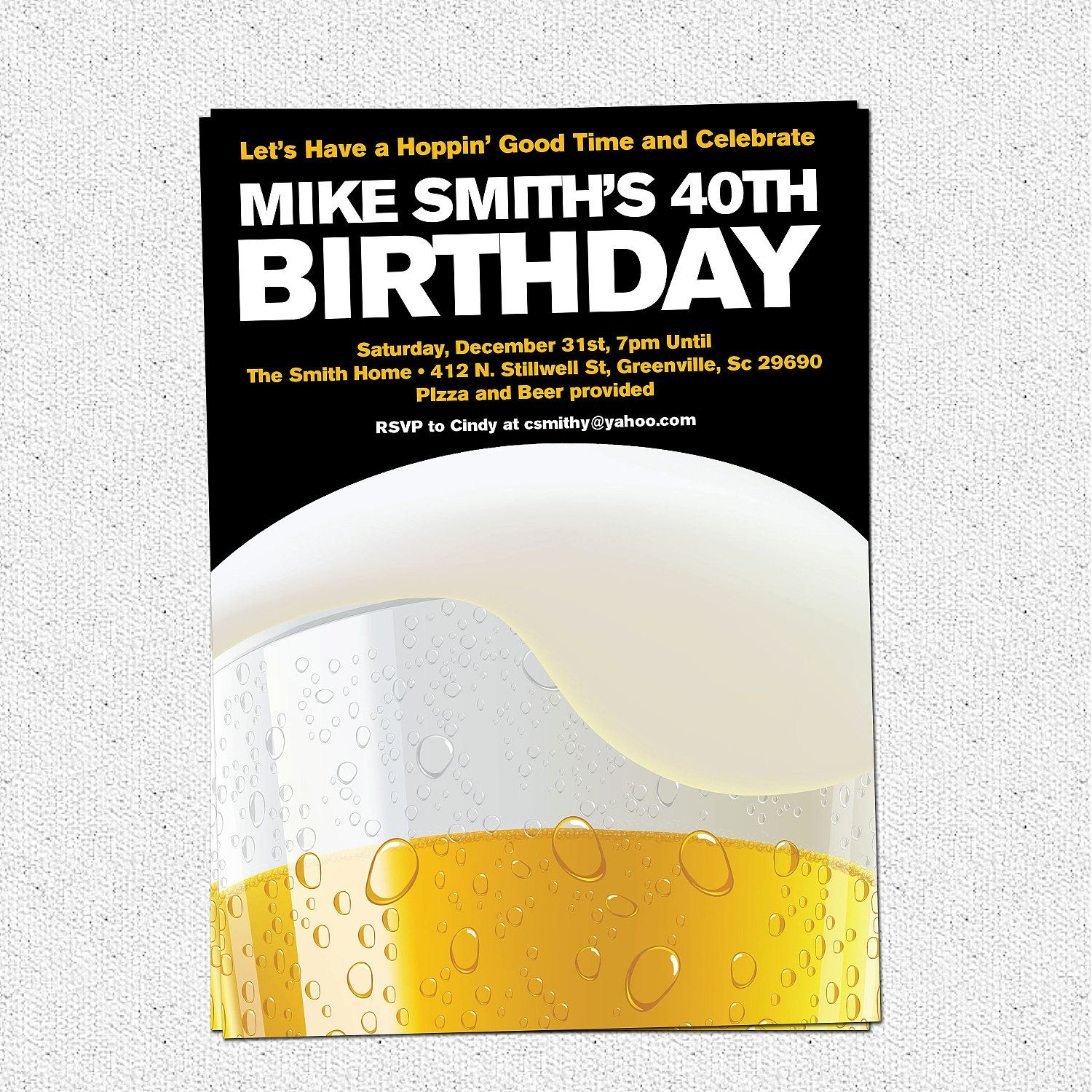 40th Birthday Invitations Men | 40 year old birthday party ideas ...