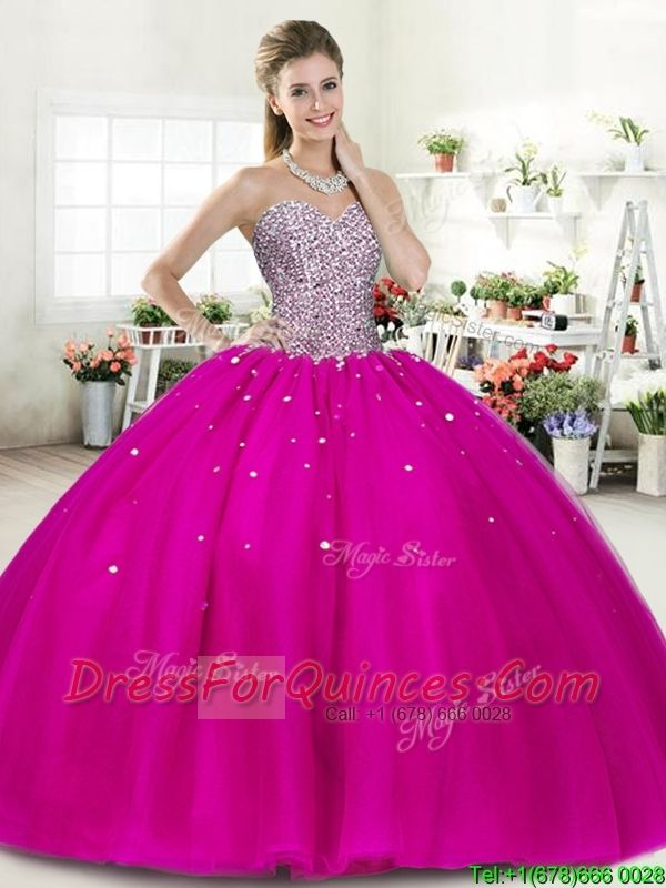 Wonderful Fuchsia Big Puffy Quinceanera Dress with Beading ...