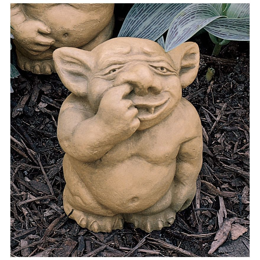 Gothic Troll Like Gargoyle Nasty Nose Picker Garden Statue