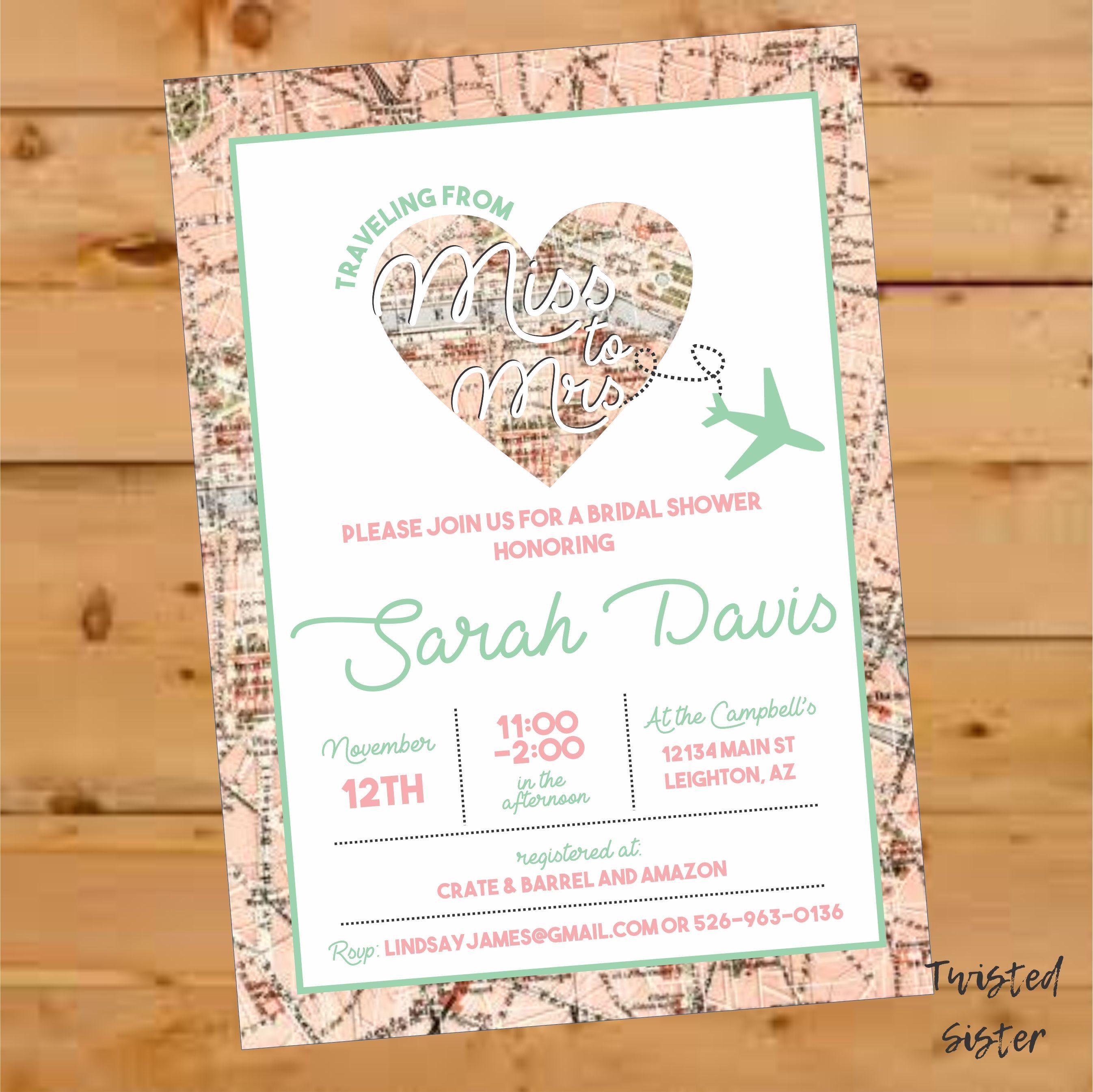 2dec04250edb Miss to Mrs Bridal Shower Invite