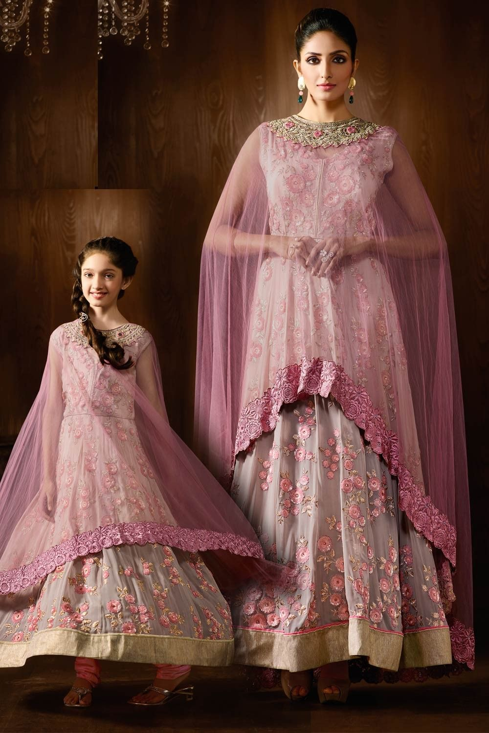 53339444d6 cape dress for weddings DESIGNER PURPLE EMBROIDERED SALWAR KAMEEZ WITH CAPE  MATCHING MOTHER DAUGHTER COMBO