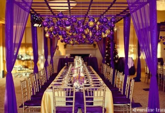 Purple And Gold Reception Decor Purple Gold Wedding Themes