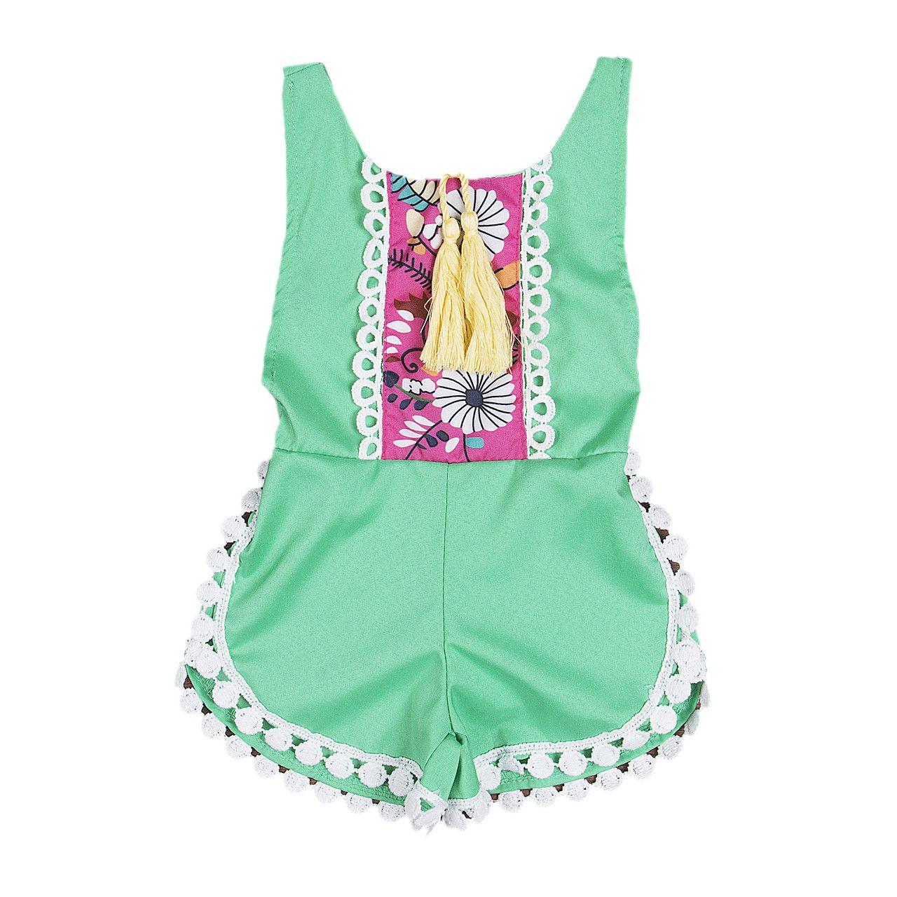 80c11c80d120 Baby Girls Rompers Toddler Kids Baby Girls Romper Belt Jumpsuit ...