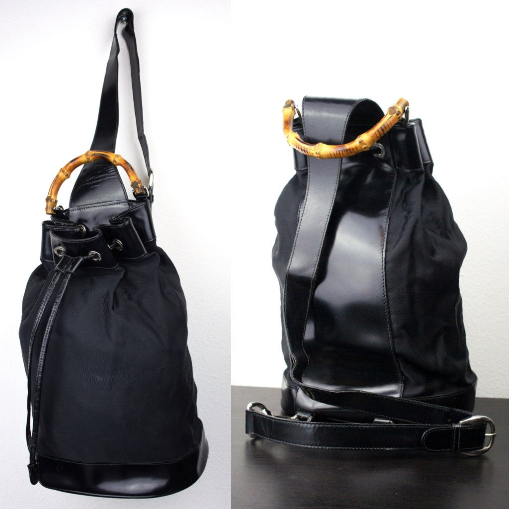 92c6769fd9cc Vintage Black Gucci One Shoulder Drawstring Backpack Purse, Large Single  Strap Sling Bag, Bamboo Handle, Nylon and Patent Leather 060013 by ...