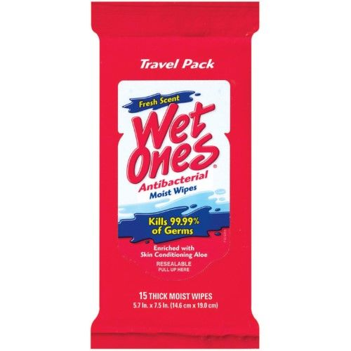 Wet Ones Antibacterial Hand Wipes Fresh Scent PACK OF 5 20 Count Travel Pack