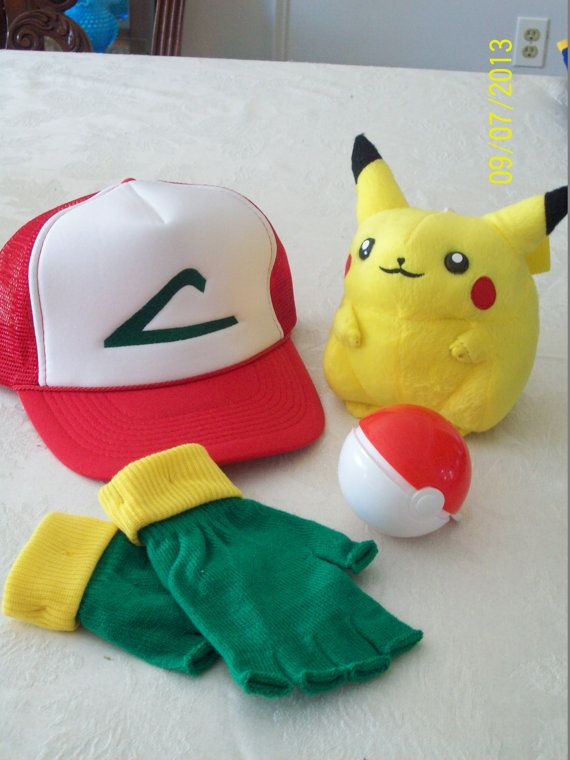 pokemon trainer cosplay costume set 4 pc hat gloves poke ball pikachu plush yes please. Black Bedroom Furniture Sets. Home Design Ideas
