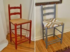 rush seat stool makeover