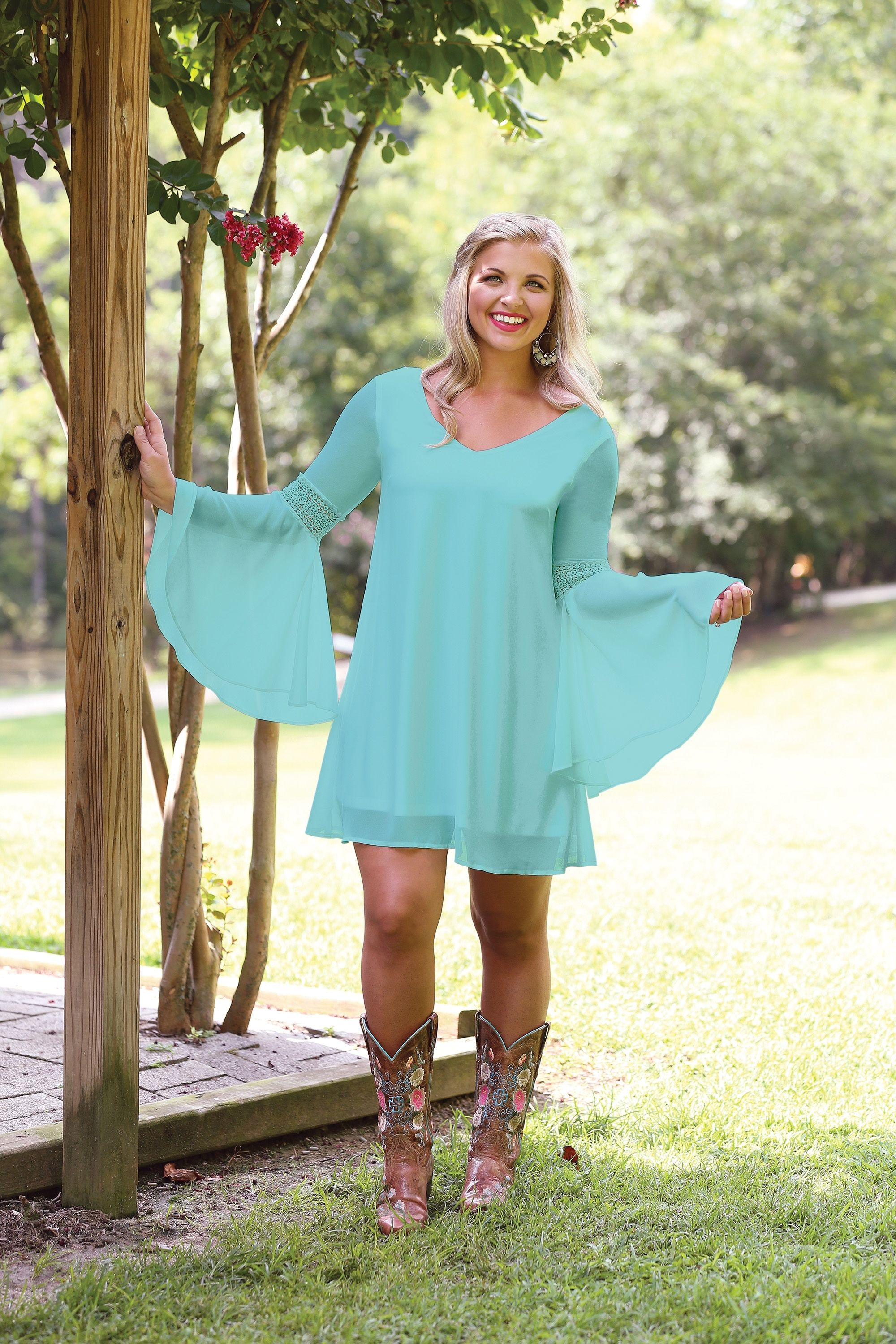 Wrangler® Western long sleeve turquoise v-neck dress with crochet at ...