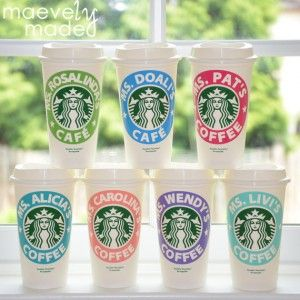 Personalized Starbucks Coffee Cups Made By A Kid Great Teacher Gift