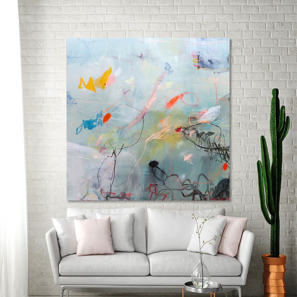 Large Abstract Painting Blue Painting 36x36 Canvas Art Modern Painting Colorful Fun Bold Playfulness 06 By Duealberi Geometricart Abstractpainting Abstract