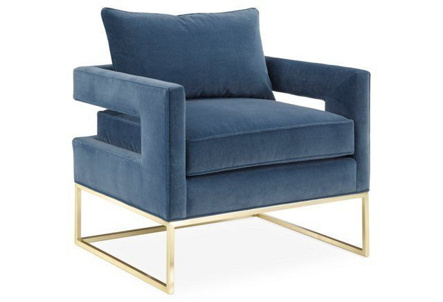 Bevin Accent Chair Gold Harbor Velvet Blue Accent Chairs