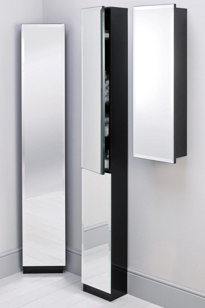 Tall Bathroom Cabinet With Mirror Door Slimline Bathroom Storage