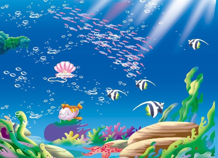 Terbaru 30 Gambar Ikan Dalam Laut Kartun Us 20 25 19 Off Sinar Matahari Di Bawah Laut 8x8ft Kartun Ikan Kawanan Dasar Laut Teru Kartun Gambar Lukisan Dinding