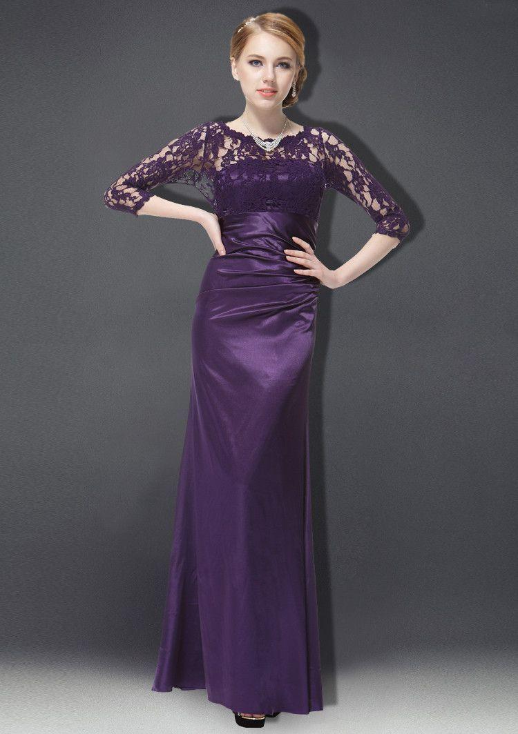 Dark purple lace 3/4 sleeve bridesmaids dress evening