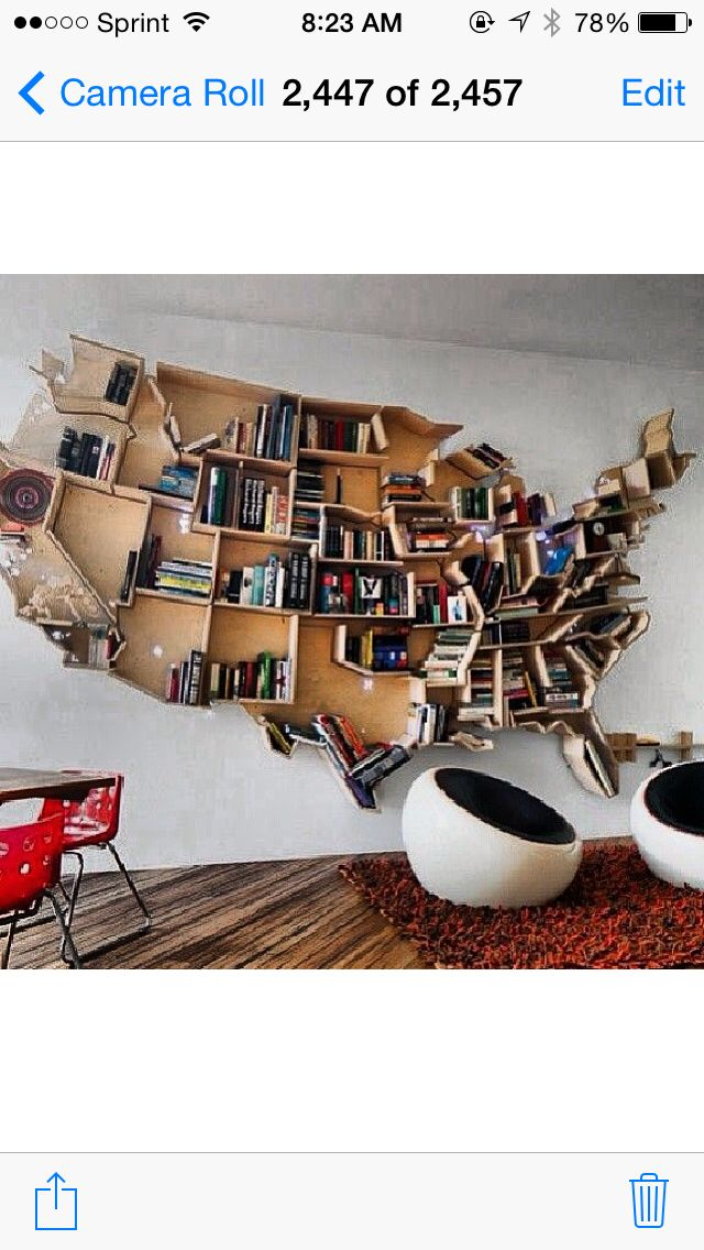 Cool Book Case In The Shape Of Us Map Dope Pinterest