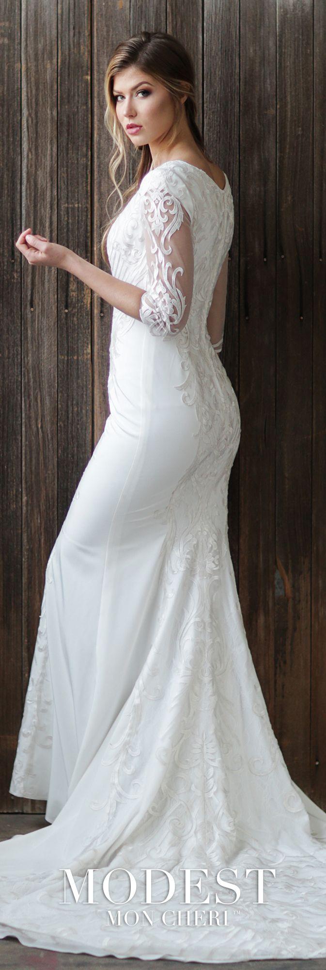 Conservative wedding dresses  Conservative Three Quarter Sleeve Lace Wedding Dress with Illusion