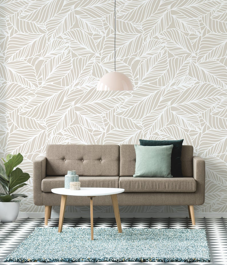 Beige Leaves Wallpaper Peel And Stick Wall Mural With Floral Etsy In 2021 Temporary Wall Decor Leaf Wallpaper Beige Wallpaper