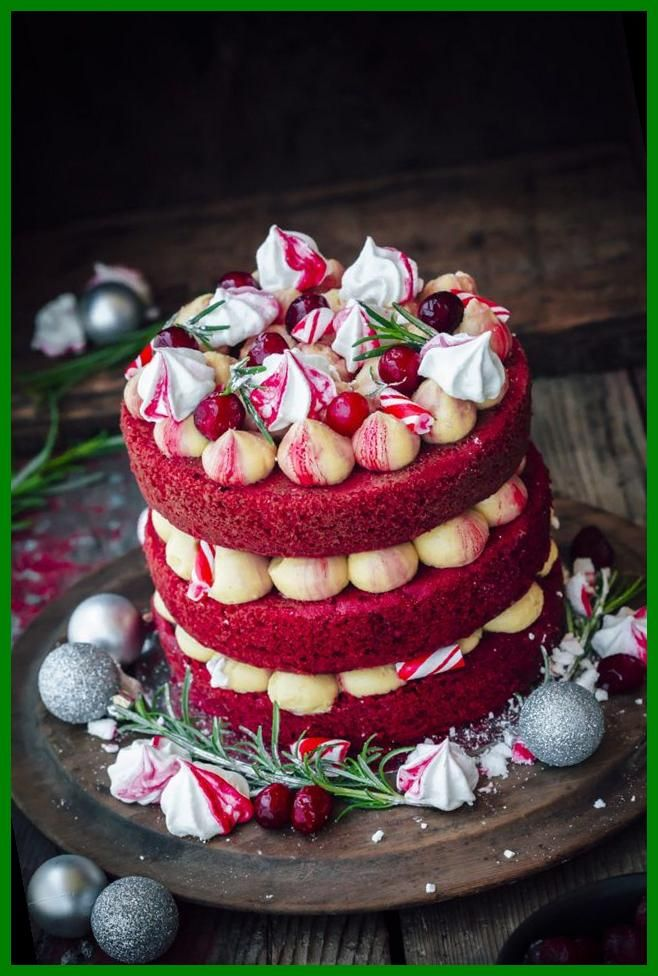 A moist Red Velvet Cake with Golden Syrup Buttercream, homemade cranberry jam and candied rosemary leaves. A perfect cake for the Christmas table#Christmas #Velvet #Sugar #Cake #With christmas cake Red Velvet Christmas Cake With CSR Sugar 31+ | christmas cake | 2020