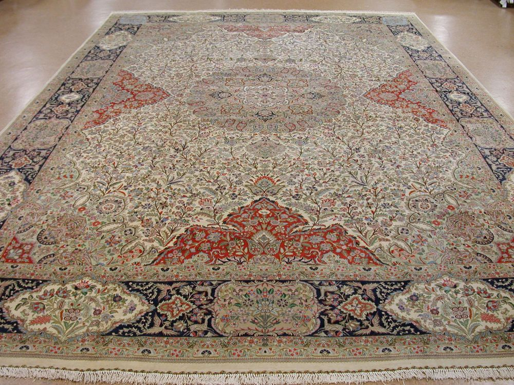 13 X 20 PERSIAN TABRIZ TABATABAI Hand Knotted Pictorial FINE Oriental Rug  Carpet In Antiques,