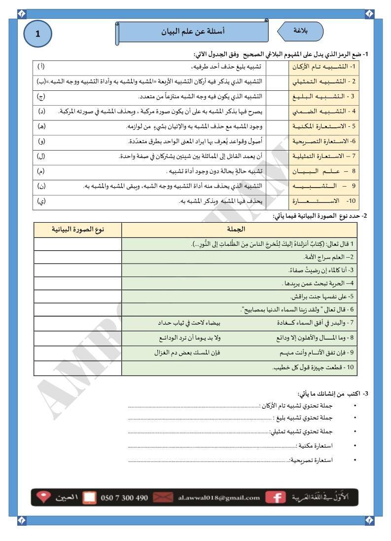 اللغة العربية ورقة عمل علم البيان للصف الثاني عشر Pali