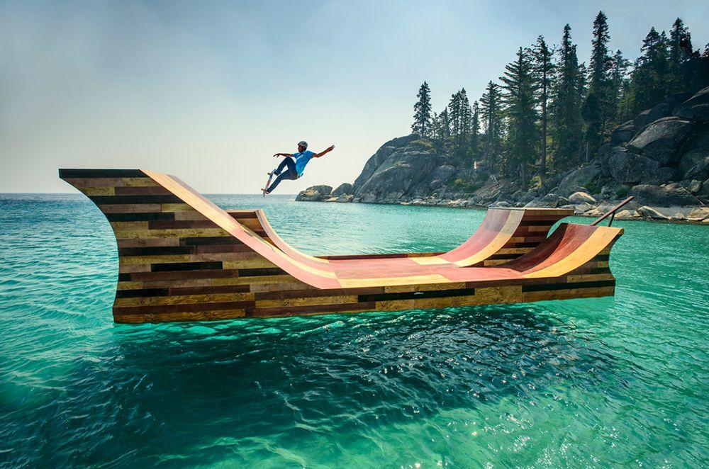 SOOO COOL.... Floating Skateboard Ramp Lake Tahoe Dream Big-California Bob Burnquist