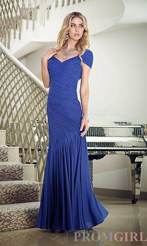Mori Lee V-Neck Jersey Dress 43057 | Prom dresses long