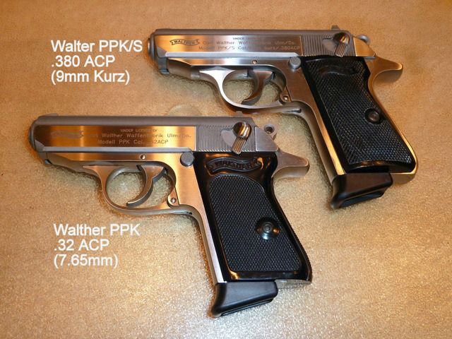 McCall's Walther PPK/S next to James Bond's Walther PPK